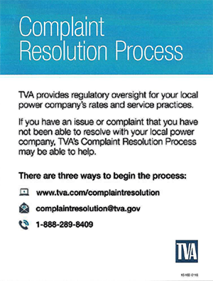 TVA Complaint Resolution Process 1-888-289-8409